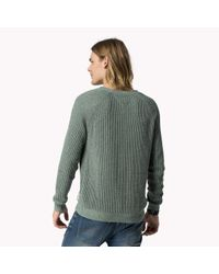 Tommy Hilfiger | Green Cotton Crew Neck Sweater for Men | Lyst