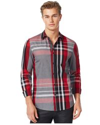 Guess | Red Clark Coated Plaid Shirt for Men | Lyst