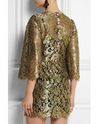 Dolce & Gabbana - Swarovski Crystalembellished Metallic Lace Mini Dress - Lyst