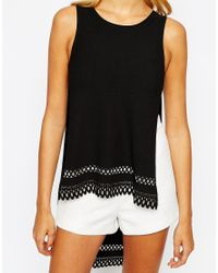 Love - Natural Dipped Split Back Top With Lazer Cut Hem Detail - Lyst