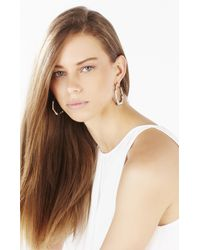 BCBGMAXAZRIA - Metallic Bamboo Hoop Earrings - Lyst