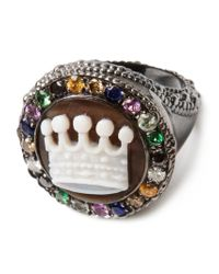 Amedeo - White Crown Embellished Signet Ring - Lyst