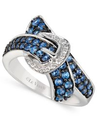 Le Vian | Ceylon Sapphire (1 Ct. T.w.) And Diamond Accent Bypass Buckle Ring In 14k White Gold | Lyst