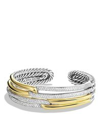 David Yurman | Yellow Labyrinth Double-loop Cuff With Diamonds & Gold | Lyst