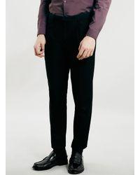 TOPMAN - Black Cropped Skinny Fit Smart Trousers for Men - Lyst