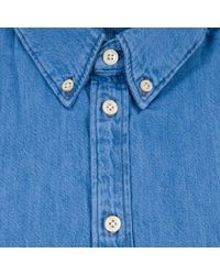Paul Smith - Blue Men's Tailored-fit Mid-wash Denim Shirt for Men - Lyst