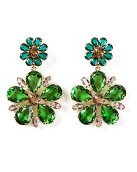 Dolce & Gabbana | Green Crystal Floral Clip-On Earrings | Lyst