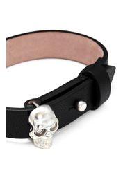Alexander McQueen | Black Skull Nappa Leather Bracelet | Lyst