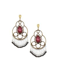 Lydell NYC - Metallic Bronze Rhinestone Drop Earrings - Lyst