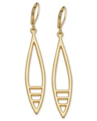 T Tahari - Metallic Gold-tone Cut-out Drop Earrings - Lyst