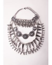 Missguided - Metallic Silver Layered Tribal Statement Necklace - Lyst