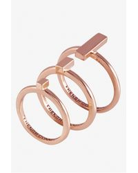 French Connection - Pink Perpendicular Bar Ring Set - Lyst