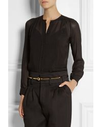 Pedro Del Hierro Madrid - Black Embroidered Georgette Blouse - Lyst