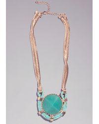 Bebe - Multicolor Geometric Pendant Necklace - Lyst