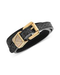 Michael Kors - Metallic Goldtone Pave Pyramid Stud Black Leather Double Wrap Bracelet - Lyst
