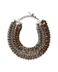 Lafayette 148 New York | Metallic Double Chain Link Necklace - Chestnut | Lyst