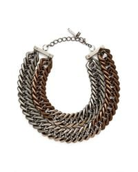 Lafayette 148 New York - Brown Double Chain Link Necklace - Chestnut - Lyst
