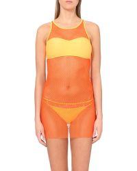 Moschino - Sheer Mesh Dress, Women's, Size: 12, Orange - Lyst