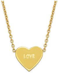 kate spade new york | Metallic Gold-tone Love Heart Pendant Necklace | Lyst