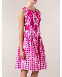 Oscar de la Renta - Pink Ikat And Gingham-Print Dress - Lyst