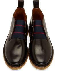 Band of Outsiders - Black Leather Slip_On Desert Boots for Men - Lyst