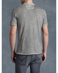 John Varvatos - Gray Soft Collar Peace Polo for Men - Lyst