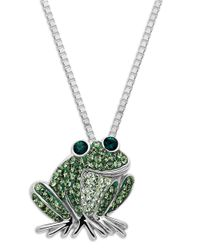 Lord & Taylor | Metallic Sterling Silver Green Frog Crystal Pendant Necklace | Lyst