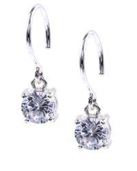 Anne Klein - Metallic Silvertone Cubic Zirconia Drop Earrings - Lyst