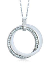 Lord & Taylor | Metallic Ceramic Gem Faux Diamond And White Ceramic Interlocking Pendant Necklace | Lyst