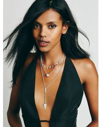 Free People - Metallic Womens Stardust Tiered Necklace - Lyst