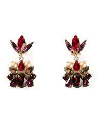 Anton Heunis - Red Crystal Cluster Earrings - Lyst