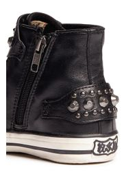 Ash - Black 'frog' Stud Leather Kids Sneakers for Men - Lyst