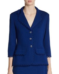 St. John | Blue Scalloped Santana Knit Jacket | Lyst