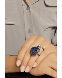 Fendi - Blue Palladiumplated Druzy and Crystal Ring - Lyst