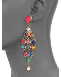 Erickson Beamon - Multicolor Telepathic Crystal Pear Cascade Chandelier Earrings - Lyst