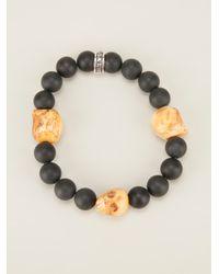 King Baby Studio | Black Beaded Skull Charm Bracelet | Lyst
