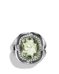 David Yurman - Metallic Labyrinth Ring With Prasiolite And Diamonds - Lyst