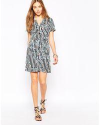Vero Moda - Blue Printed Wrap Front Shirt Dress - Lyst
