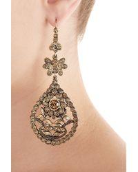 Alberta Ferretti | Metallic Embellished Chandelier Earrings - Gold | Lyst