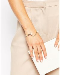 ASOS | Metallic Limited Edition Chain Link Pearl Open Cuff Bracelet | Lyst
