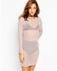 ASOS - Pink Mesh Bodycon Slip Dress - Lyst