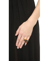 Maiyet - Metallic Slanted Concave Ring With Inlay - Rutile Quartz - Lyst