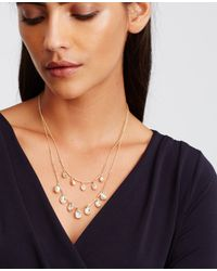 Ann Taylor | Metallic Scattered Stone Dangle Necklace | Lyst