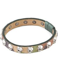 Tateossian - Green Skull Studded Camouflage-print Leather Bracelet for Men - Lyst