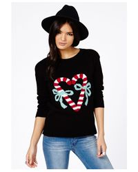 Missguided - Black Ubrita Candy Cane Christmas Jumper - Lyst