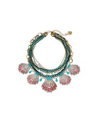 Betsey Johnson | Pink Ocean Drive Pave Crystal Shell Statement Necklace | Lyst