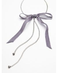 Free People | Gray Bow Tie Bolo Necklace | Lyst