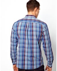ASOS | Blue Check Shirt In Long Sleeve for Men | Lyst