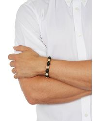 Nialaya | Black Gold-plated And Onyx Beaded Bracelet for Men | Lyst