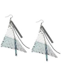 Guess - Metallic Silver-tone Mesh And Beaded Chain Drop Earrings - Lyst